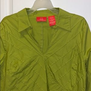 Apple green top with front detailing size 16